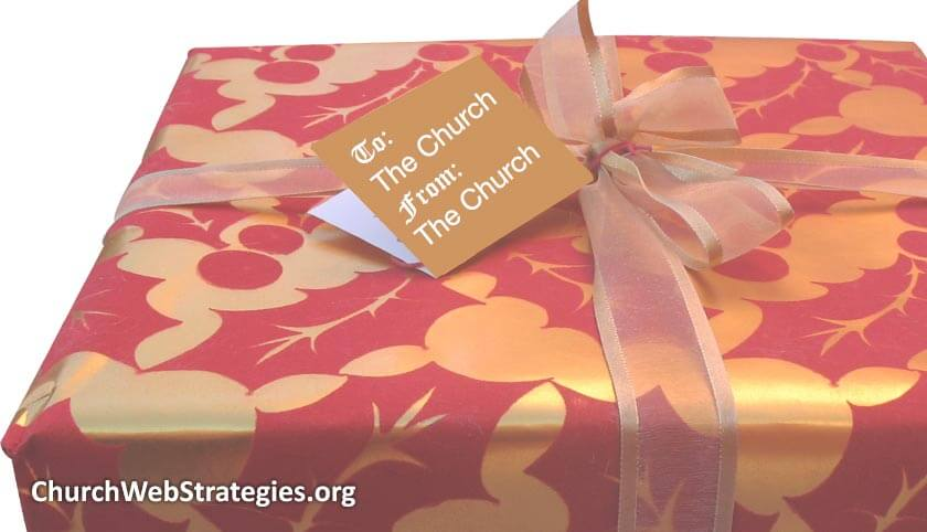 """Present with tag that says """"To the church, from the church"""""""