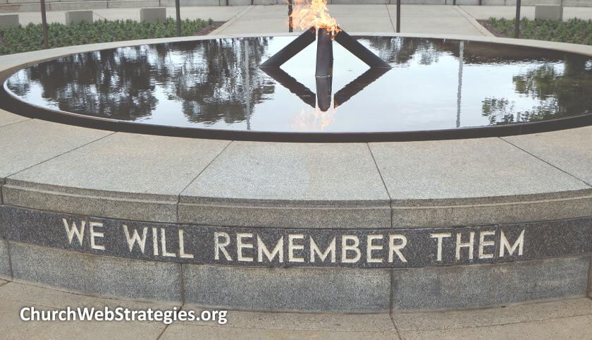"""Memorial fountain that says """"We will remember them"""""""