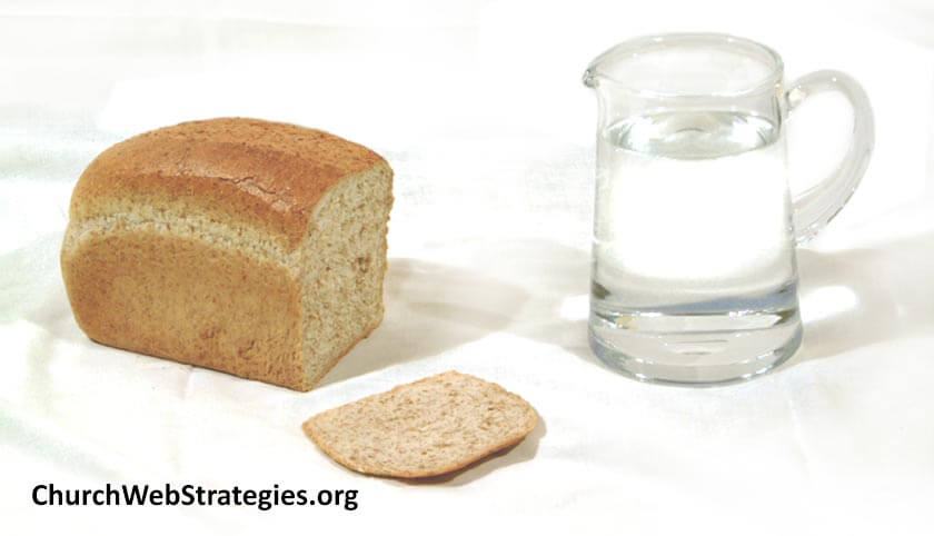 Bread and water on a table