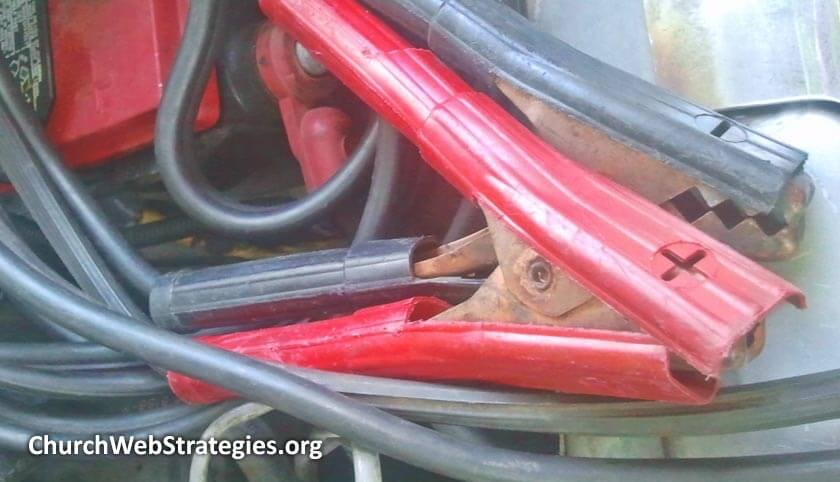 close-up of car jumper cables