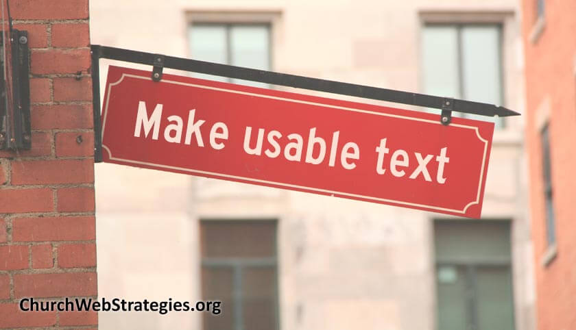 """sign on brick building that says """"Make usable text"""""""